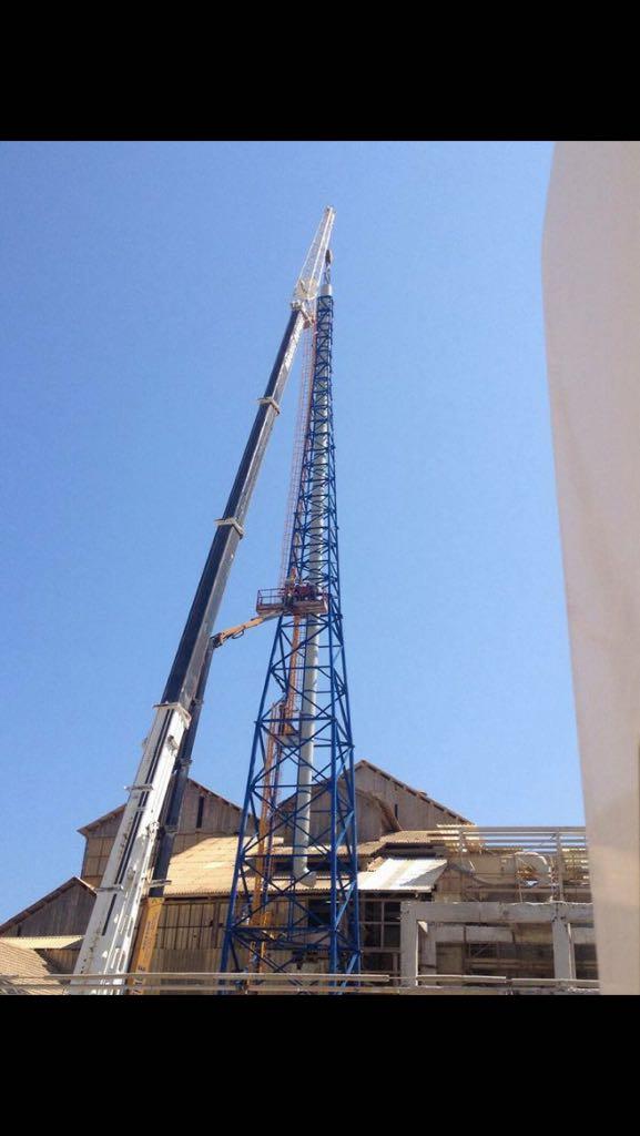 Realizzazione traliccio Timac 45 mt di altezza e camino fumi